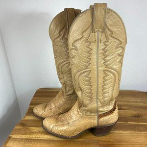 Justin Boots Snakeskin Western Cowboy Boots Womens